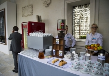 Yalta Annual Metting lobby with a cup of coffee